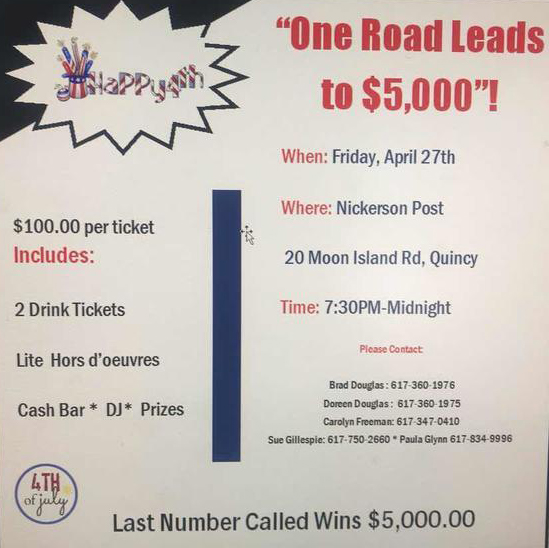 One Road July Fourth fundraiser April 27 2018