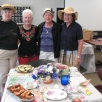 Sally Erickson, Patricia Herbert, Freida O'Brien, Jean Green at Tea Party