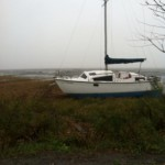 Boat washed ashore near Moswetuset Hummock