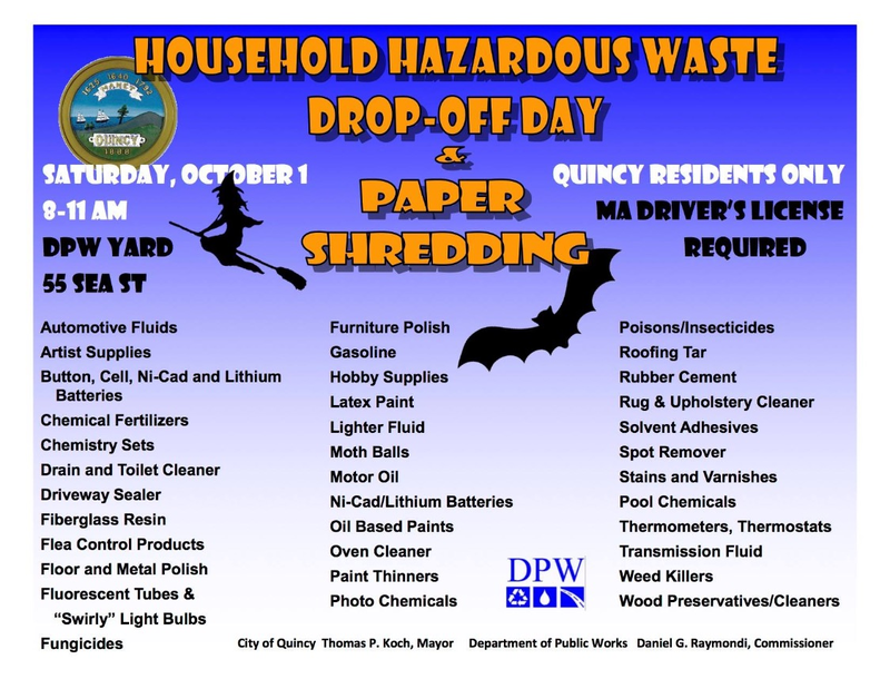 Quincy Hazardous Waste Day October 1 2016 8-11am